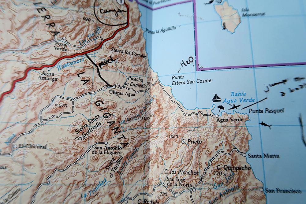 Mapa de paper amb les indicacions que em va donar el Pedalero.