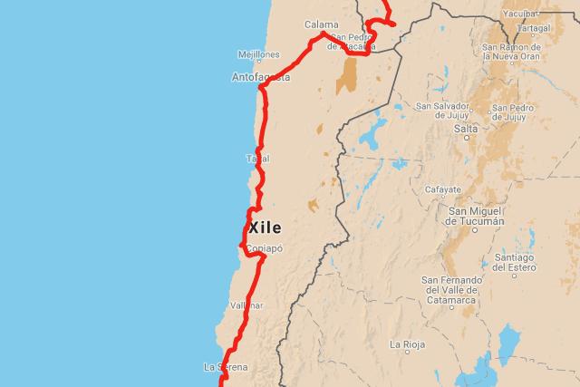 Pel desert d'Atacama - mapa